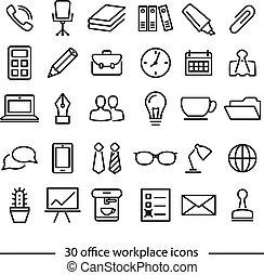 linha, jogo, local trabalho, ícones escritório