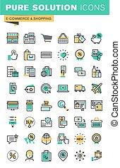 linha, jogo, shopping, magra, ícones