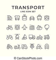linha, jogo, transporte, ícones