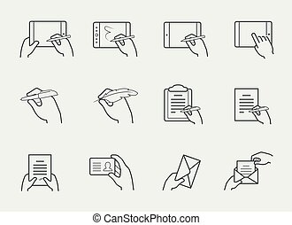 linha magra, ícone, jogo, de, mãos, segurando, e, interação, com, objetos
