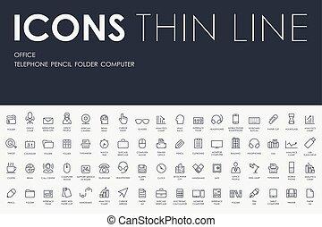 linha, magra, ícones escritório