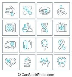 linha magra, ícones médicos, jogo