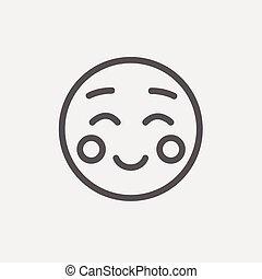 linha, magra, overjoyed, ícone