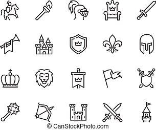 linha, medieval, ícones