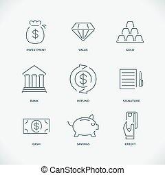 linha, modernos, magra, finanças, ícones