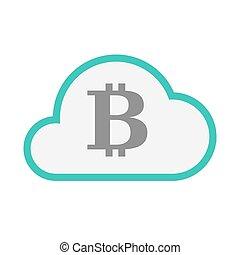linha, moeda, arte, ícone, isolado, nuvem, sinal, bit