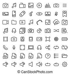 linha, multimedia, jogo, magra, ícones