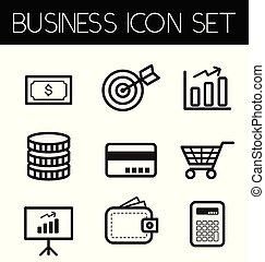 linha, negócio, ícone