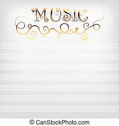 linha., notas, música, fundo