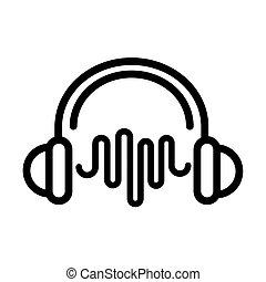 linha, onda, ícone, fones, estilo, som, frequência