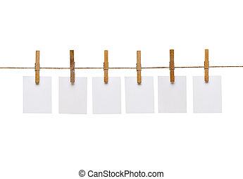 linha, papel, corda, cavilha, roupas, nota