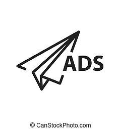 linha, papel, foguete, anúncio, ícone