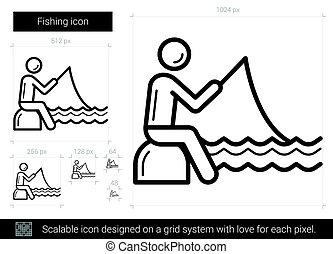 linha, pesca, icon.