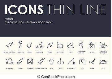 linha, pesca, magra, ícones