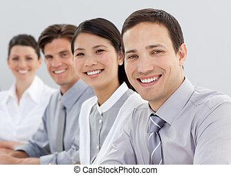 linha, pessoas, jovem, negócio, sentando