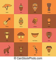 linha plana, áfrica, ícones