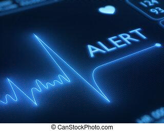 linha plana, alerta, ligado, monitor coração