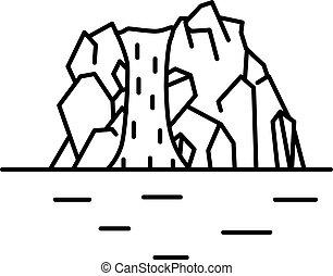 linha plana, cachoeira, arte, ilustração