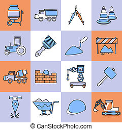 linha plana, jogo construção, ícones