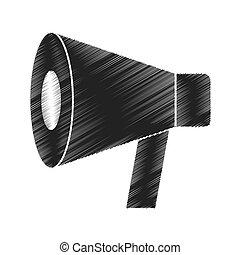 linha plana, megafone, ícone