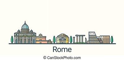 linha plana, roma, bandeira