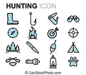 linha plana, vetorial, caça, ícones