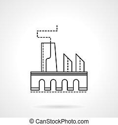 linha plana, vetorial, fábrica, ícone