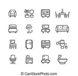 linha plana, vetorial, furniture., ícones