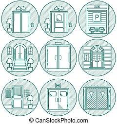 linha plana, vetorial, porta, ícones