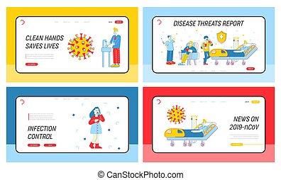 linha plana, vetorial, sintomas, contagioso, teia, site web, coronavirus, mãos, perigosa, infecção, método, arte, vírus, aterragem, ilustração, caricatura, lavagem, set., banner., 2019-ncov, página, controle, prevenção