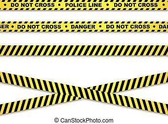 linha, polícia, fitas, perigo