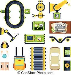 linha, producao, jogo, elementos, ícone