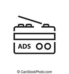 linha, rádio, anúncio, ícone