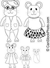 linha, rato, arte, caricatura, família, cute