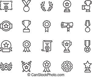linha, recompensas, ícones