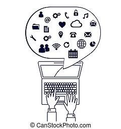linha, rede computador, ilustração