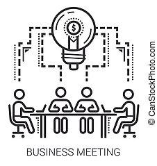 linha, reunião, negócio, icons.