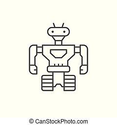 linha, robô, ícone