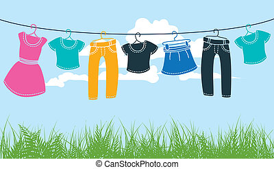 linha, roupa lavagem