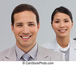 linha, sócios, multi-étnico, negócio