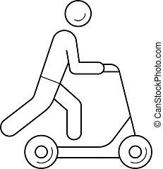 linha, scooter, empurrão, icon.