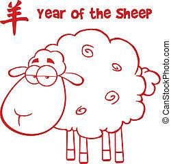 linha, sheep, vermelho