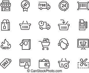 linha, shopping, ícones