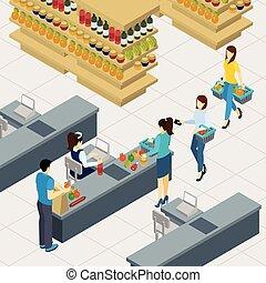linha, shopping, ilustração, pessoas