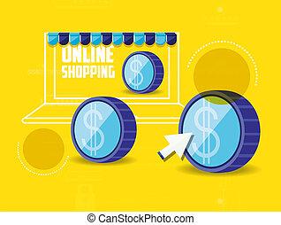 linha, shopping, laptop