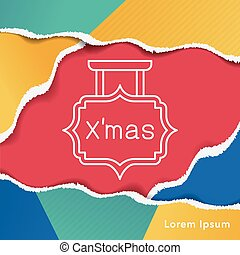 linha, tábua, natal, ícone