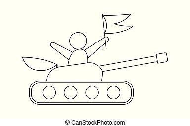 linha, tanque, ícone