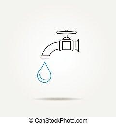 linha, torneira água, ícone