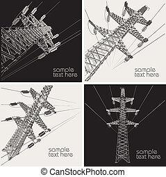 linha transmissão, poder, vetorial
