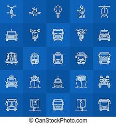 linha, transporte, ícones